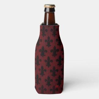 Garnet and black royal fleur de lis pattern bottle cooler