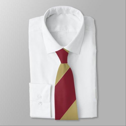 Garnet and Gold Broad Regimental Stripe Neck Tie