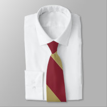 Garnet and Gold Broad University Stripe Neck Tie