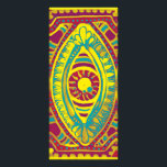 """Garnet and Gold Rack Card<br><div class=""""desc"""">red,  teal,  and yellow hand painted eye on wood with digital touch</div>"""