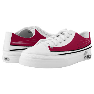 Garnet and White Tres Lo-Top Printed Shoes