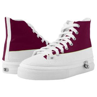 Garnet and White Two-Tone Hi-Top Printed Shoes