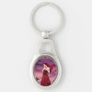 Garnet Birthstone Fairy Oval Keychain