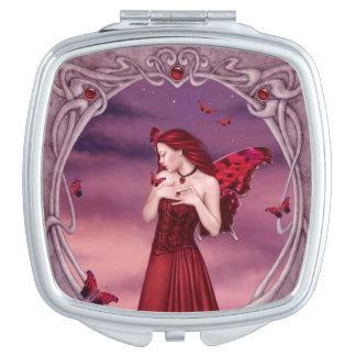 Garnet Birthstone Fairy Square Compact Mirror