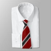 Garnet Black and White Regimental Stripe Tie