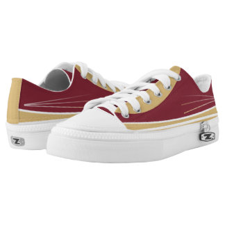 Garnet Gold and White Tres Lo-Top Printed Shoes