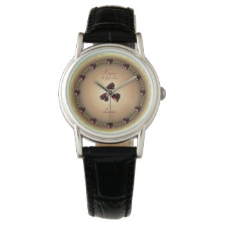 Garnet Hearts Kairos Rose Gold Black Leather Watch
