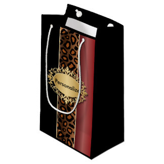 Garnet Red, Black and Jaguar Print Small Gift Bag