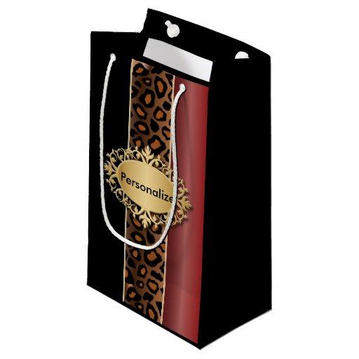 Garnet Red, Black and Jaguar Print Small Gift Bag