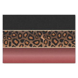Garnet Red, Black and Jaguar Print Tissue Paper