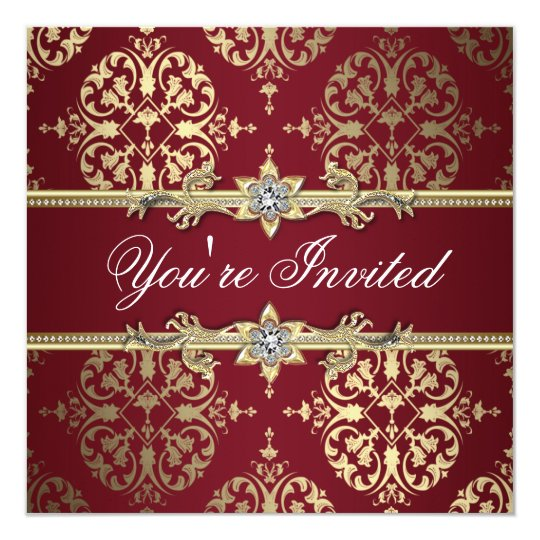Garnet Ruby Red Gold Black Damask Party Invitation