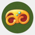 Garra ardiente del animal del maya pegatina redonda
