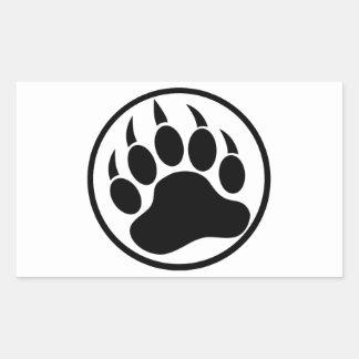 Garra de oso negro clásica dentro de un anillo rectangular pegatinas