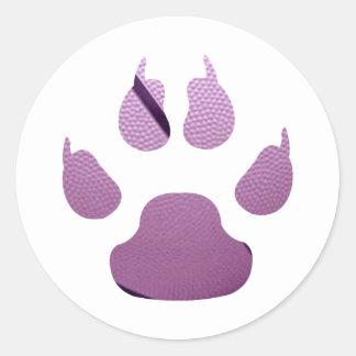 Garra púrpura pegatina redonda