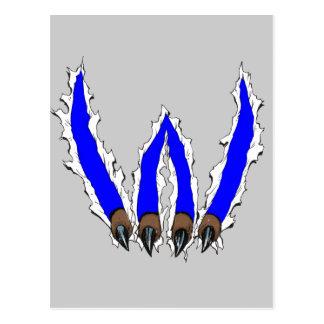 Garra que rasga con diseño - azul de los gatos tarjetas postales