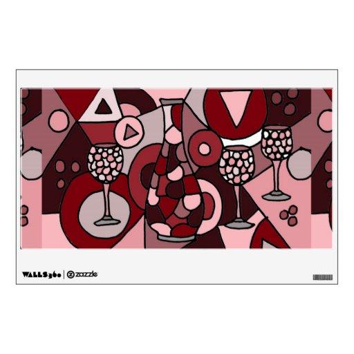 Garrafa del vino y etiqueta de la pared del arte a