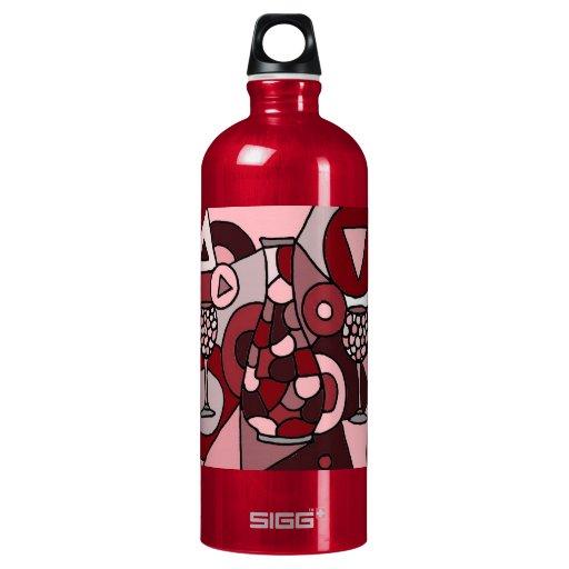 Garrafa fabulosa del vino y arte abstracto de los