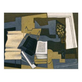 Garrafa y libro de Juan Gris Postal
