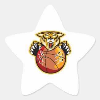 Garras de la bola del baloncesto del tigre calcomania cuadrada personalizada