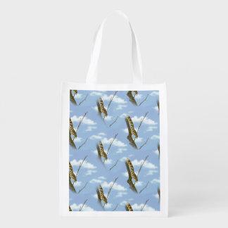 Garter Snake Against  Blue Sky - Wallpaper Pattern Grocery Bags