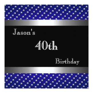 GARY - Blue Black Silver Studs 40th Birthday Mans Card