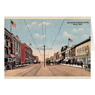 Gary, Indiana Broadway looking south Card