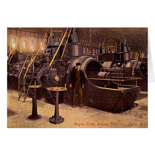 Gary, Indiana Engine Room Steel Plant 1910 Card