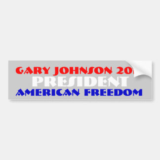 Gary Johnson 2012 for president Car Bumper Sticker