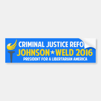 Gary Johnson 2016 Libertarian Criminal Justice Bumper Sticker