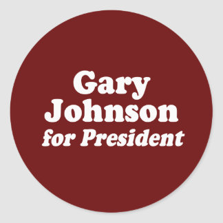 GARY JOHNSON FOR PRESIDENT CLASSIC ROUND STICKER