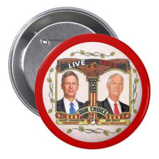 Gary Johnson/gris de Jim en 2012 Pin Redondo De 3 Pulgadas