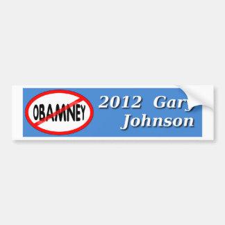 Gary Johnson NO OBAMNEY 2012 bumper sticker Car Bumper Sticker