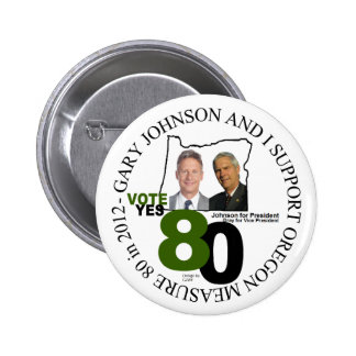Gary Johnson Oregon Measure 80 Pinback Button