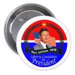 Gary Johnson para el presidente 2016 Pin Redondo 7 Cm
