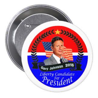 Gary Johnson para el presidente 2016 Pin Redondo De 3 Pulgadas