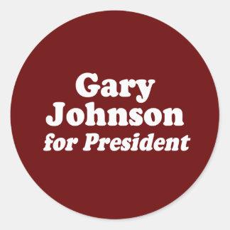 GARY JOHNSON PARA EL PRESIDENTE PEGATINA