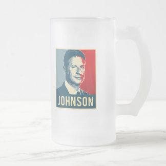 Gary Johnson Propaganda Poster - -  Frosted Glass Beer Mug