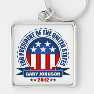 Gary Johnson Silver-Colored Square Keychain