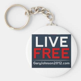 Gary libre viva Johnson para el presidente 2012 Llaveros Personalizados