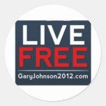 Gary libre viva Johnson para el presidente 2012 Pegatina