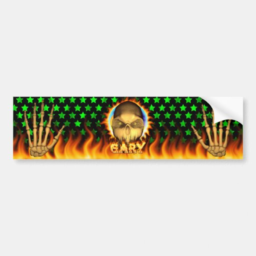 Gary skull real fire and flames bumper sticker des