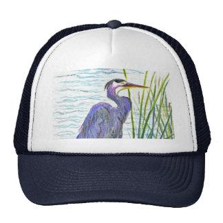Garza de gran azul - lápiz de la acuarela gorras