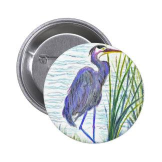 Garza de gran azul - lápiz de la acuarela pins