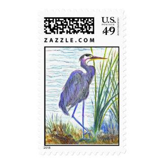 Garza de gran azul - lápiz de la acuarela sellos