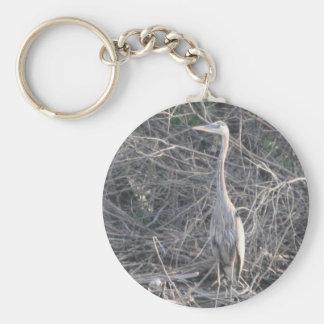 Garza de gran azul llavero redondo tipo pin