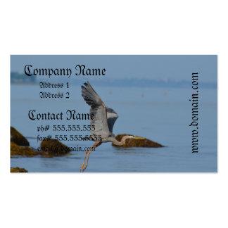 Garza de gran azul que vuela tarjetas de visita