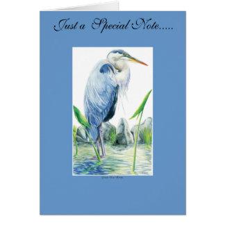 Garza de gran azul tarjeta de felicitación
