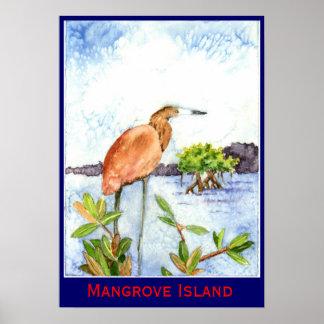 Garza de la isla del mangle póster