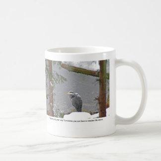 Garza en fotos de la nieve taza de café
