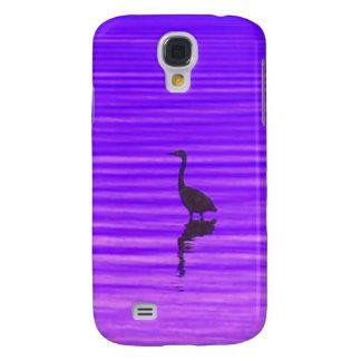 Garza en un lago púrpura